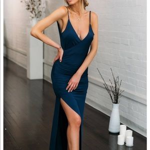 Dark blue low back maxi dress